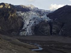 The glacial lagoon of Gígjökull, an outlet glacier just north of Eyjafjallajökull, was filled with ash by last spring's eruption.