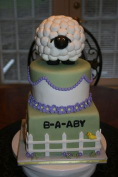 Little lamb baby shower cake - This is a baby shower cake I did for a friend.  I used the invitations for inspiration.  The sheep is RKT covered in fondant balls.