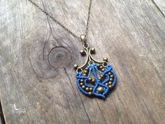 Micro macrame necklace anchor in sky blue macrame pendant boat nautical chain antique bronze boho jewelry hippie