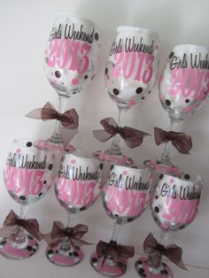 8 Personalized Wine Glasses Great For Bachelorette Party Girls Weekends Wedding Shower And