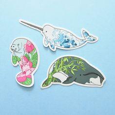 THREE PACK Aquatic Mammals Stickers natelledrawsstuff by NatelleDrawsStuff on Etsy https://www.etsy.com/listing/549299785/three-pack-aquatic-mammals-stickers
