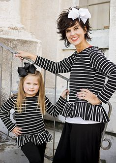 The Hair Bow Company | Mommy & Me Black & White Striped Ruffle Shirt for Girls