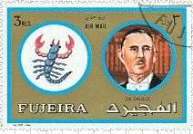 French President 1890-1970     Scorpio is De Gaulle's Zodiacal Sign. This stamp belongs to series with famous people and their astrological Signs, which was issued by Fujeira in 15 March 1973.