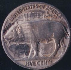 John Dorusa - Pig - Coin: 1927-P (G) Hobo Nickel, Art Sculptures, Coins, Carving, Animals, Animales, Rooms, Animaux, Wood Carvings