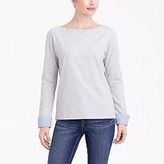 Cuffed boatneck shirt factorywomen shirts & tops c