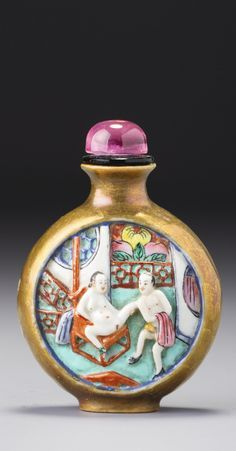 A MOULDED FAMILLE-ROSE PORCELAIN 'EROTIC COUPLE' SNUFF BOTTLE<br>QING DYNASTY, QIANLONG / JIAQING PERIOD | lot | Sotheby's