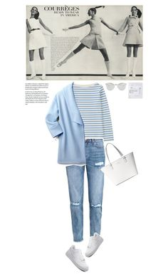 """""""Blue and White"""" by makeupgoddess ❤ liked on Polyvore featuring Fendi, H&M, Uniqlo, WithChic, Kate Spade and Iope"""