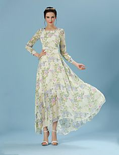 Women's Casual Inelastic Long Sleeve Maxi Dress (Rayon)