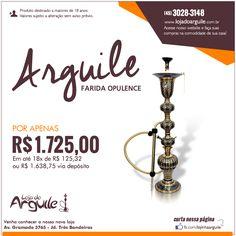 ARGUILE FARIDA OPULENCE POR APENAS R$ 1.725,00 Em até 18x de R$ 125,32 ou R$ 1.638,75 via depósito Compre Online: http://www.lojadoarguile.com.br/arguile-farida-opulence