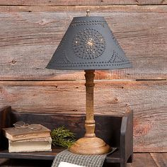 Handspun wooden table lamp with punched tin shade. Distressed two color colonial finishes. Made in Pennsylvania USA