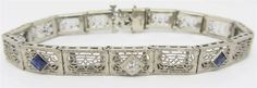 "Antique Art Deco 14k White Gold Filligree Diamond Sapphire Bracelet 7"" GORGEOUS"