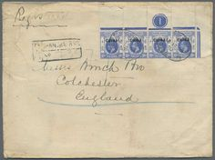 """China, Michel SG 6 (4) - 1921, BRITISH P.O. CHINA, 10 C ultramarine, strip of 4 from upper right sheet corner with plate-number """"1"""" on registered cover from SHANGHAI, 21 SP 21, to Colchester in England. F/VF condition Lot condition Dealer Gärtner Christoph Auktionshaus Auction Starting Price: 800.00 EUR"""