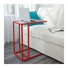 IKEA - VITTSJÖ, Laptopgestell, weiß/Glas, , Aus gehärtetem Glas und Metall, robusten Materialien für ein offenes, luftiges Erscheinungsbild.