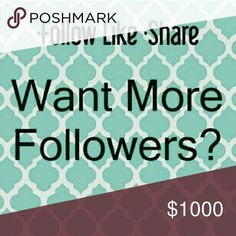 ?? Follow Game ?? ?? Don't forget to follow me ?? The rules are simple:  Like this post, Follow me, Follow everyone that has liked the post!  Share, Share, Share!!  Don't forget to check back and follow all the new likes, and watch your follower's list grow!! ???? Other