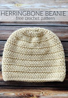 crochet hats The Herringbone Beanie Crochet Pattern has a fun texture that's created with the herringbone double crochet and turned rounds. Herringbone Beanie Crochet Pattern Get the ful Crochet Scarves, Crochet Yarn, Free Crochet, Crochet Beanie Pattern, Crochet Patterns, Hat Patterns, Crochet Hat For Men, Mens Crochet Beanie, Beanie Pattern Free