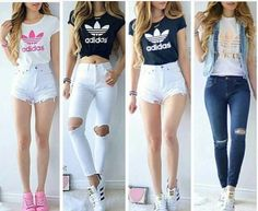 Want all of them outfit though. Teen Fashion Outfits, Cute Fashion, Outfits For Teens, Girl Fashion, Girl Outfits, Looks Adidas, Dress Outfits, Casual Outfits, White Short Outfits