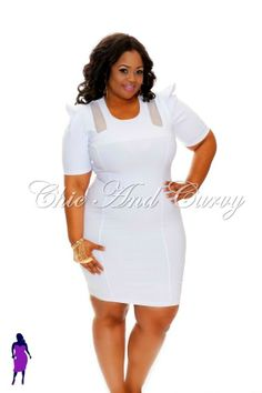 Outlet Plus Size Bodycon Slanted Peplum Dress In White 1x 2x 3x ...