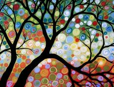 Colourful tree by Painting Prints