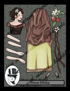 Snow White Jointed Paper Doll 12 by FiveAndNineteen on Etsy, $7.50