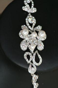 Adella Swarovski crystal an pearl bracelet by simplychic93 on Etsy