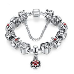 Vintage Heart Crown Bead Charm Bracelet Silver 925 for Women Original Safety Chain Jewelry