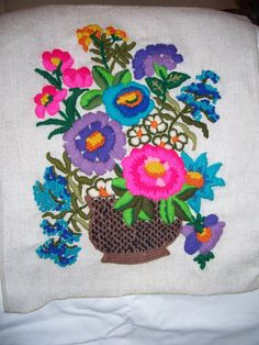 Floral Crewel Embroidery on Linen