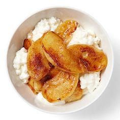 healthy snack option: 1/2 cup low-fat cottage cheese with 1/4 cup sautéed apples topped with cinnamon