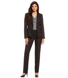 Black Herringbone suiting/ blazer/ pant/ skirt/ office chic/ boss/ business professional style/ work wear fashion
