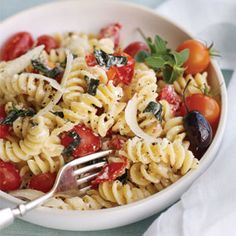Lose weight with this fresh and easy pasta meal: Fusilli with Herbed Ricotta and Grape Tomatoes.  #dairy #vegetables #grains #myplate