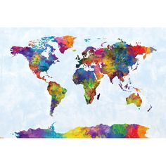 Vintage world map pinterest wallpaper east urban home world map series strong watercolors iii by michael tompsett graphic art on gumiabroncs Gallery