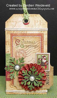 Christmas Tag ~ make tags from scraps of your yearly Christmas cards with stamps from the same year as a nice keepsake.