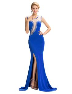 Aliexpress.com   Buy Formal Evening Dress 2016 Royal blue special occasion  dress With Mermaid Sleeveless Hollowed see through back party gowns from  Reliable ... accb29c3a60