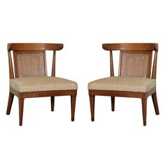 Pair of Caned Walnut Chairs by Tomlinson