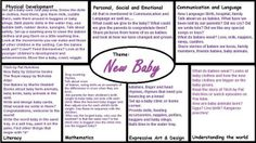 EYFS plan for theme about new baby into the family