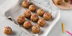 These birthday cake energy balls are the perfect sweet treat. Make a big batch and you've got a healthy snack stash to take on the road or to the gym. Healthy Snacks, Healthy Eating, Healthy Recipes, Beachbody Blog, Energy Balls, Balls Recipe, Shakeology, Nutrition Tips, Meal Prep