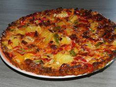Recette simple et complète pour un souper rapide - Recette Plat : Omelette aux pomme de terre-chorizo-poivrons en forme de tarte par Mamyloumich