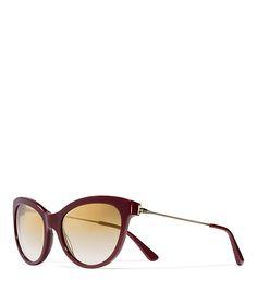 Metal-Temple Cat-Eye Sunglasses