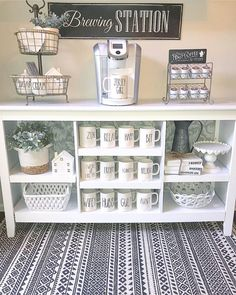Coffee car dreams 😍 with ・・・ Guess what guys? You made it to Friday! We thought coffee bar would be a great way to start off your morning! Coffee Bars In Kitchen, Coffee Bar Home, Home Coffee Stations, Coffee Corner, Drink Coffee, House Coffee, Coffee Nook, Farmhouse Interior, Farmhouse Design