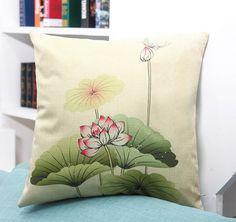 Throw Pillow Case Cotton linen Sofa Cushion Cover Home Decor Lotus Flower 45cm