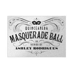 Shiny Silver Quinceanera Masquerade Invitations