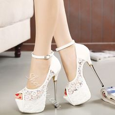 [Visit to Buy] women summer sandals lace pumps women party shoes platform pumps white wedding shoes stiletto heels open toe dress shoes Platform High Heels, High Heels Stilettos, Stiletto Heels, White Heels, Sandals Platform, Ankle Heels, Peep Toes, Peep Toe Shoes, Shoes Sandals