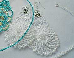 "Wedding lace earrings ""Margo"" , wedding earrings with crystal beads, bridal earrings, tatted earrings"