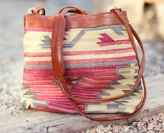 Southwestern Santa Fe Tapestry Genuine Leather Tassle Purse - All About Aztec  $58