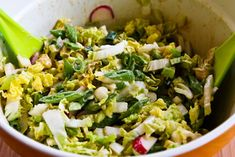 Recipe for Crunchy Napa Cabbage Asian Slaw with Sugar Snap Peas, Radishes, Almonds (and Cilantro?) | Kalyn's Kitchen®