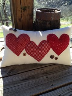 red//white doily heart and button-22 Primitive Quilted pillow tuck