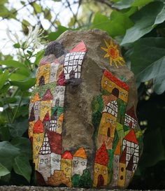 village on a rock for my backyard ugly old rock! Pebble Painting, Pebble Art, Stone Painting, Stone Crafts, Rock Crafts, Pebble Stone, Stone Art, Polka Dot Art, Rock And Pebbles