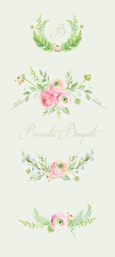 Hand Drawn Clip Art Watercolor. Ranunculus Bouquets Flowers - digital flowers, DIY invites, scrapbooking, wedding invitations