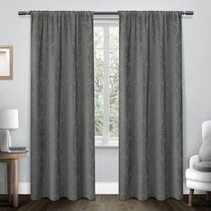 "House of Hampton Hadley Damask Medallion Heavyweight Chenille Jacquard Room Darkening Rod Pocket Curtain Panel Color: Soft Gray, Size: 52"" W x 108"" L"