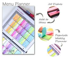 Menu Planner using post it notes - free printables!