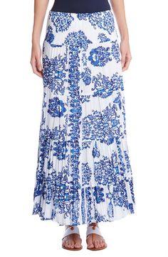 Karen Kane Print Cotton Tiered Maxi Skirt